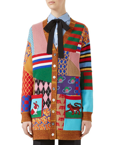 Patchwork Oversize Wool Cardigan, Multicolor