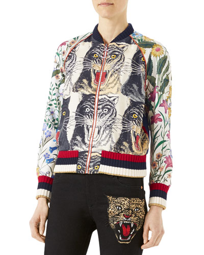 Appliquéd Printed Silk-Twill Bomber Jacket, Multi Pattern