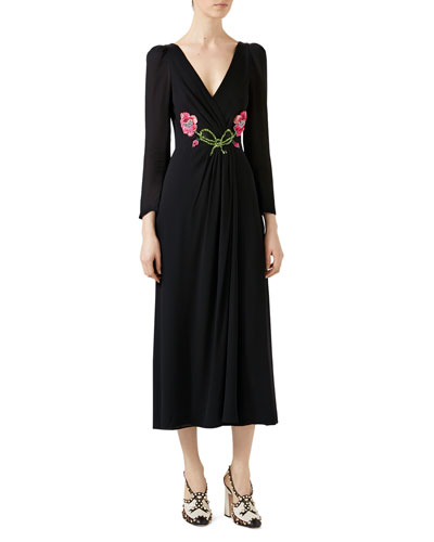 Embroidered Viscose Sablé Dress, Black