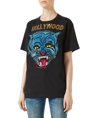 Hollywood Tiger-Motif Cotton T-Shirt, Black