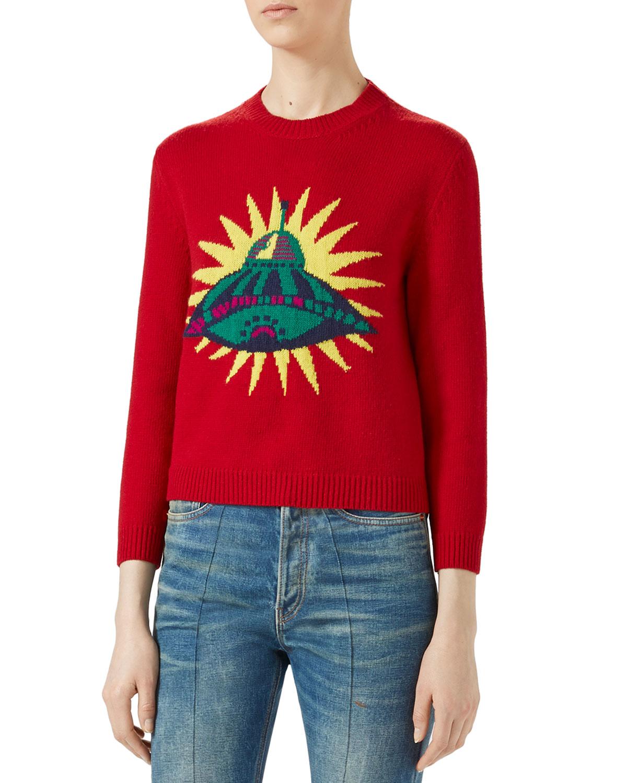 UFO Intarsia Crewneck Sweater