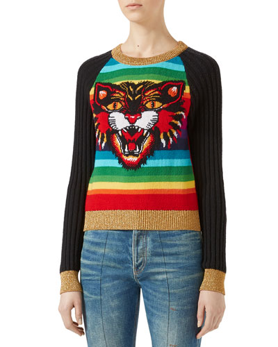 Angry Cat Jacquard Striped Knit Top, Rainbow