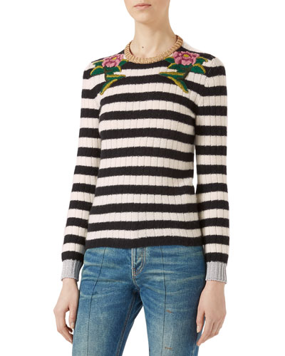 Embroidered Merino Cashmere Knit Top, Black/White