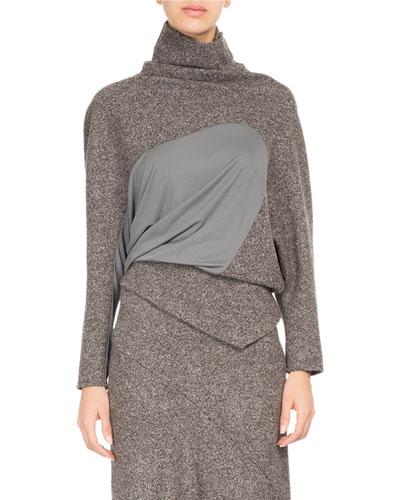 Galaxy Tweed Paneled Turtleneck Sweater
