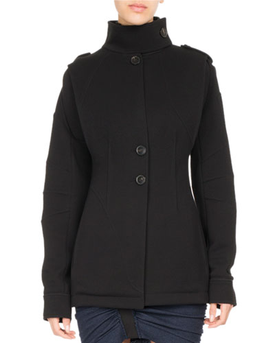 Single-Breasted Jersey Coat