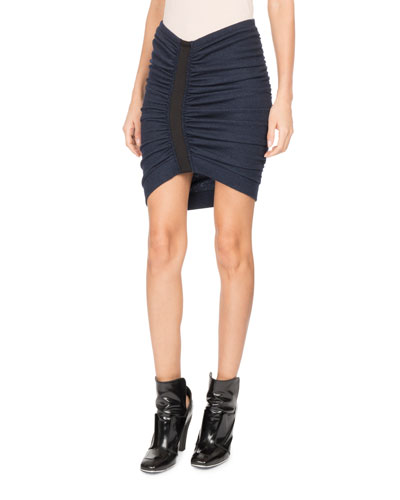 Ruched-Front Jersey Miniskirt