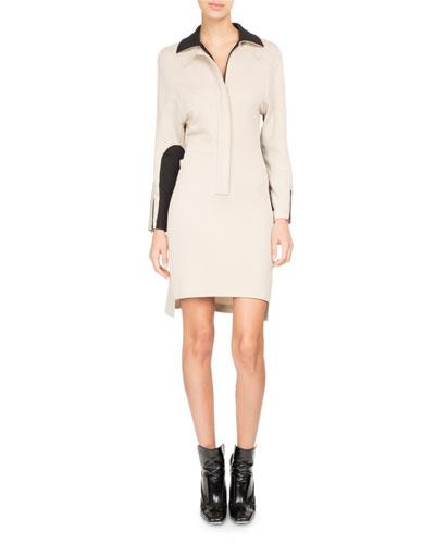 Bicolor Zip-Front Polo Dress