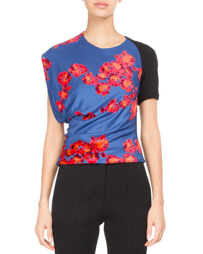 ATLEIN Floral Draped Jersey Top in Black Pattern