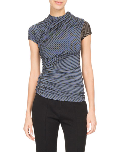Dotted-Stripe Ruched Jersey Top