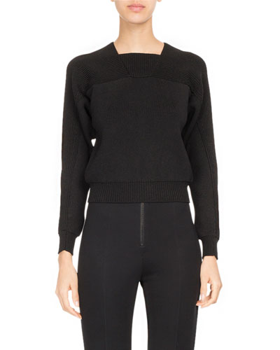 Ribbed Square-Neck Sweater