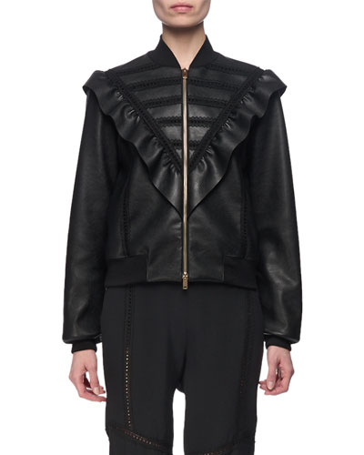 Macie Faux-Leather Ruffle-Bib Bomber Jacket