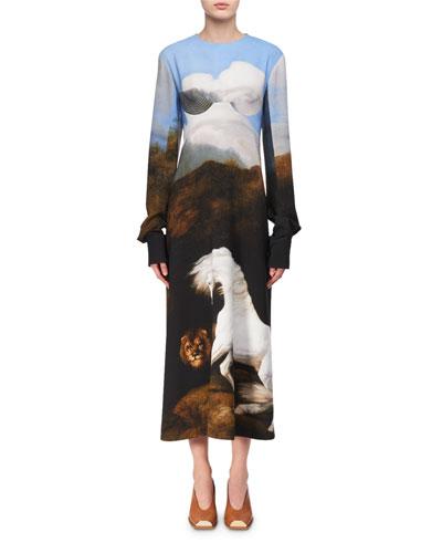 Cassandra House-Print Bustier Midi Dress