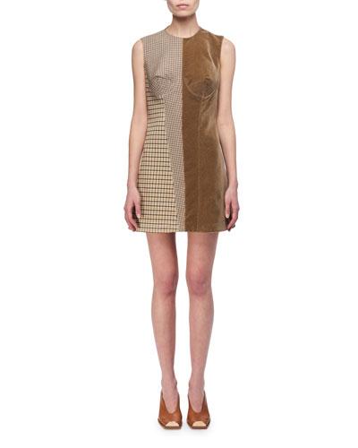 Velvet & Check Bustier Minidress