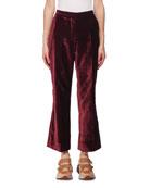 Cropped Flare-Leg Velvet Pants