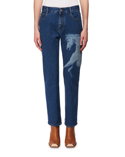 Horse-Print Cropped Straight-Leg Jeans