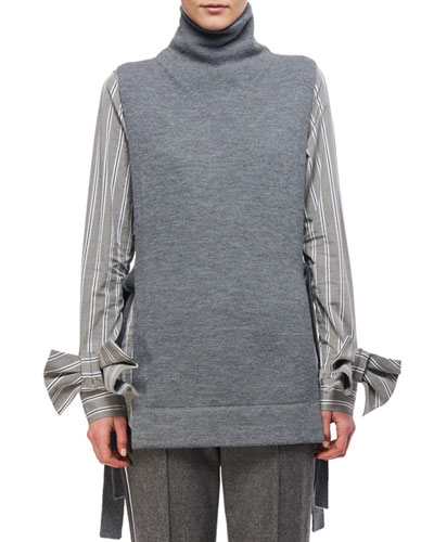 Tie-Side Merino Wool Turtleneck Tunic