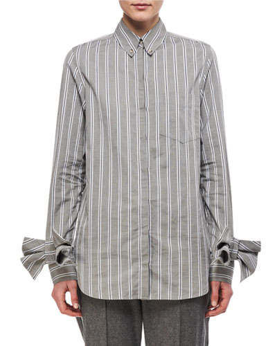 Bow-Cuff Striped Oxford Shirt