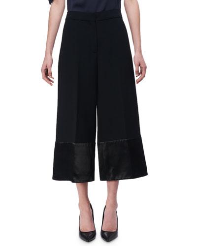 Satin-Trim High-Rise Culottes