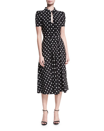 Mariella Polka-Dot Short-Sleeve Midi Dress