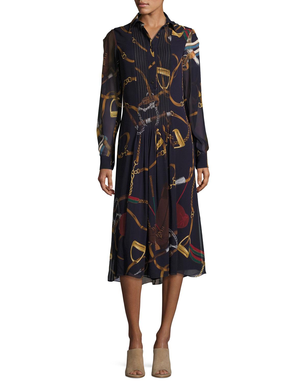 Vanessa Equestrian-Print Silk Georgette Midi Shirtdress