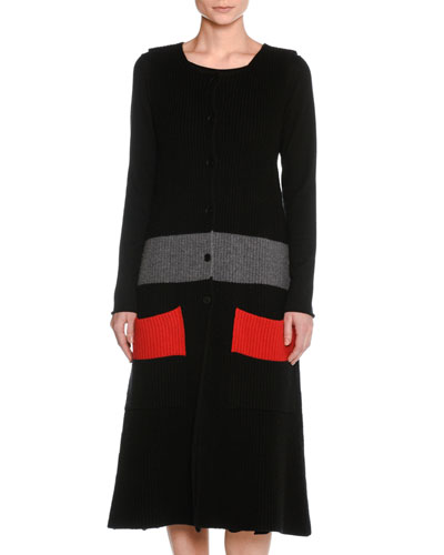 Tomas Maier Sleeveless Wool Colorblock Cardigan Sweater Dress