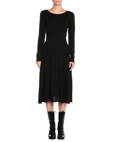 Tomas Maier Cashmere Drop - waist Sweater Dress