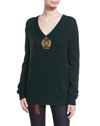 Embellished Cashmere-Nylon V-Neck Sweater