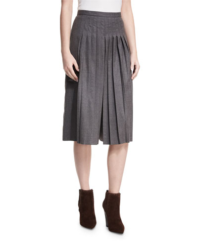 Whitney Pleated Stretch Wool Culottes