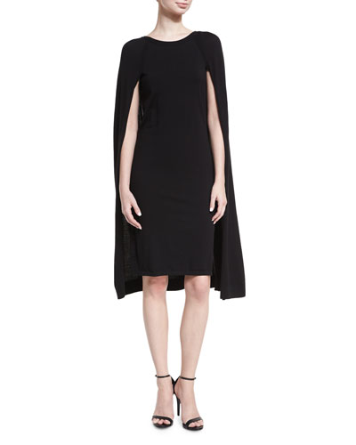 Merino Wool-Blend Cape Dress