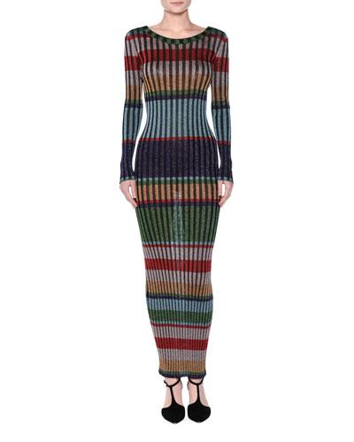 Striped Lamé Maxi Dress