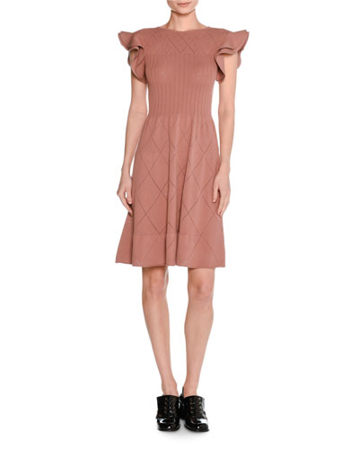 Flutter-Sleeve Pointelle Knit Dress
