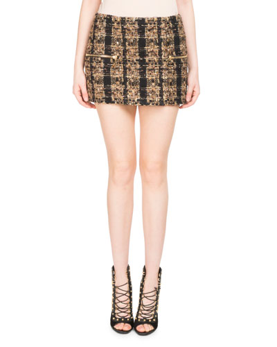 Tweed Zip-Pocket Miniskirt