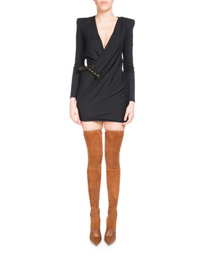 Plunging V Jersey Wrap Dress