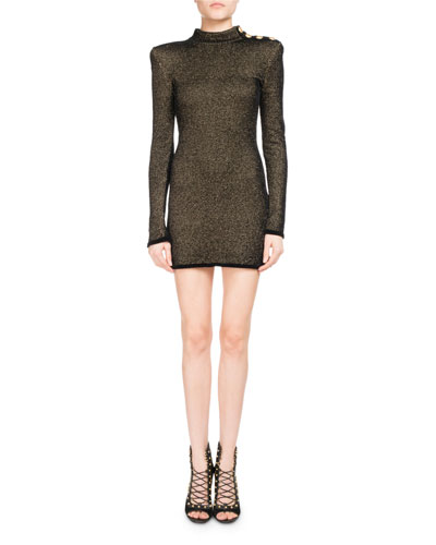 Metallic Mock-Neck Long-Sleeve Dress