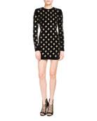 Embellished Long-Sleeve Minidress