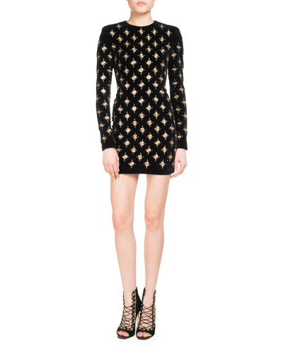 Embellished Long-Sleeve Minidress