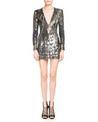Crocodile-Sequined V-Neck Minidress