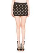 Embellished Knit Miniskirt