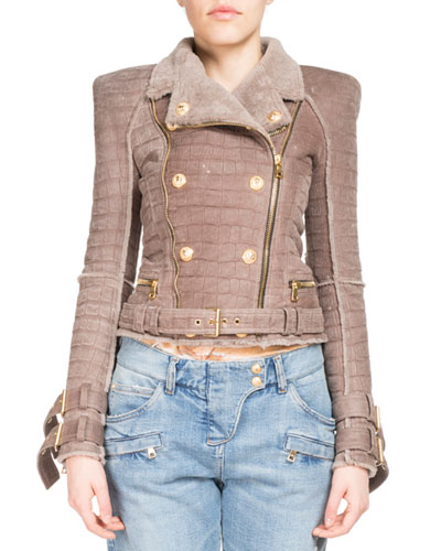 Crocodile-Embossed Shearling Biker Jacket