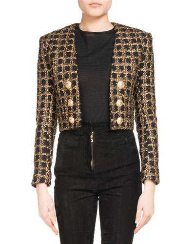 Cropped Tweed Open-Front Jacket
