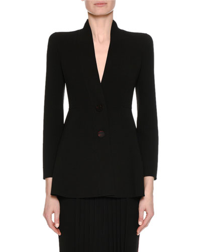 Virgin Wool Two-Button A-Line Blazer