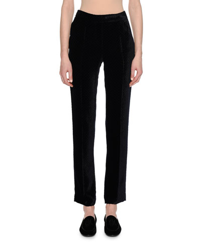 Fantasia Velvet Straight-Leg Pants