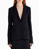 Pinstripe Stretch Crepe Jacket, Black/White