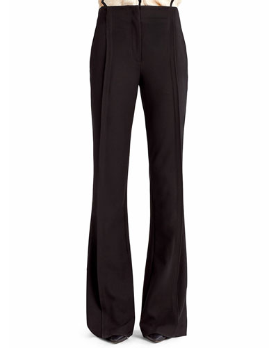 Soft Stretch Crepe Boot-Cut Pants, Black