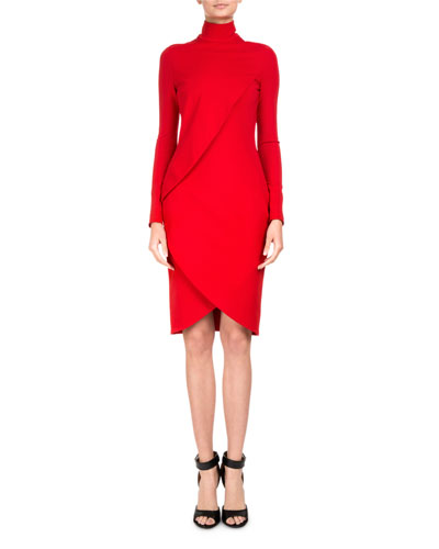 Draped Long-Sleeve Mock-Neck Dress
