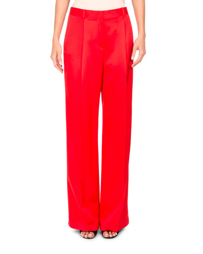 Duchesse Satin Wide-Leg Pants