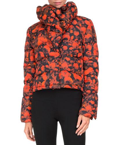 Rose-Print Puffer Jacket