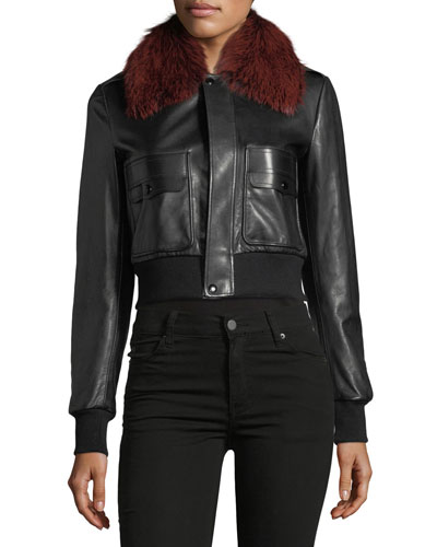 Fox-Fur Collar Button-Front Leather Bomber Jacket