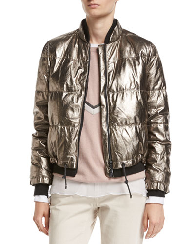 Metallic Leather Puffer Jacket