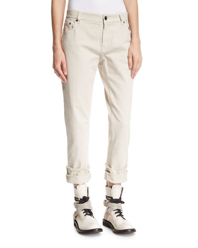 Garment-Dyed Boyfriend Jeans with Rolled & Frayed Cuffs